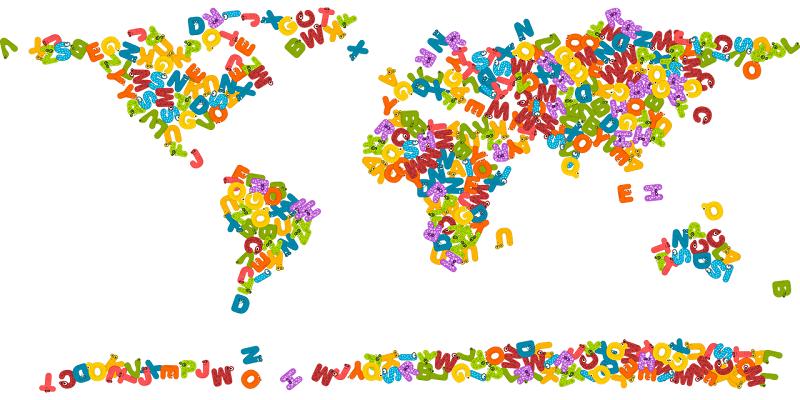 アルファベットでできた世界地図