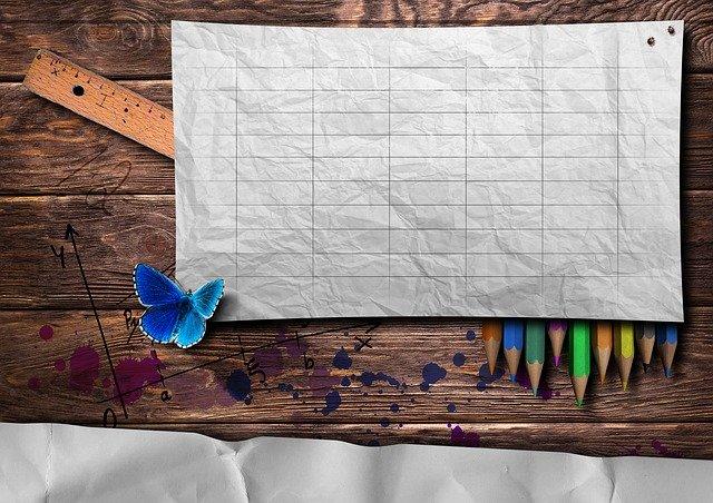 白紙の計画表